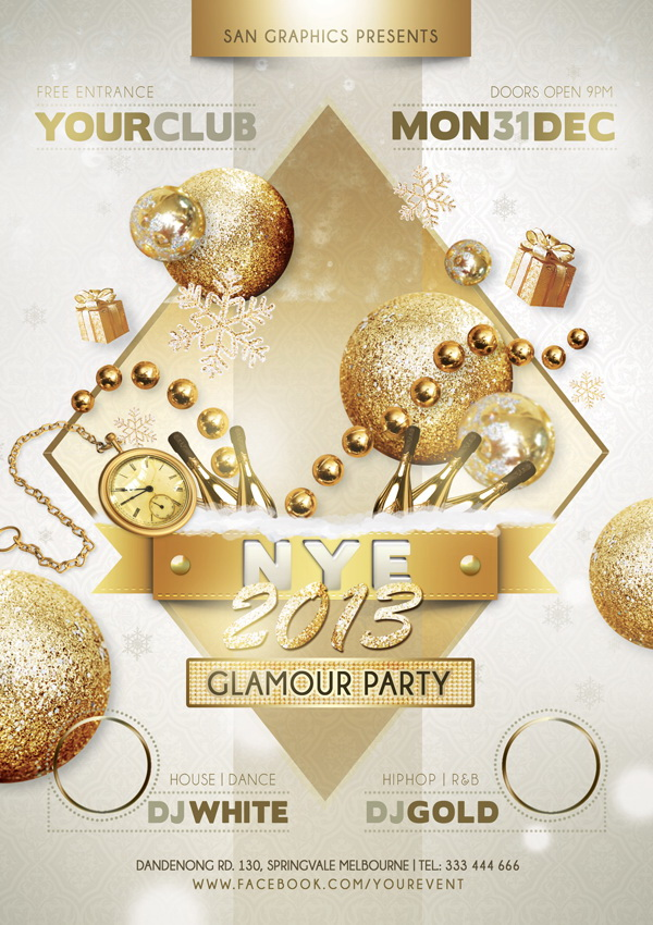 Элитный постер New Year Glamour Party Free PSD