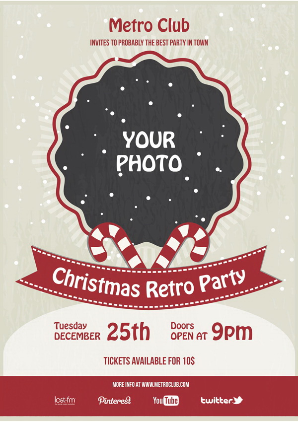 Афиша в стиле Christmas Retro Party Free PSD